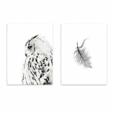 Nordic Owl Wall Art Canvas Painting-paint-Golonzo