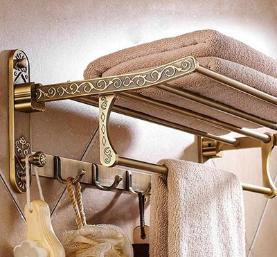 Aluminum Antique Brass Bath Towel Rack-Towel Racks and Holder-Golonzo
