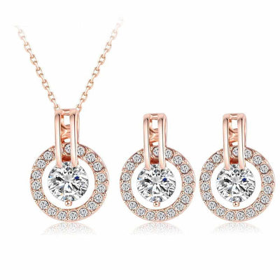 Wedding Rose Gold Color Necklace and Earring Set-Necklace-Golonzo