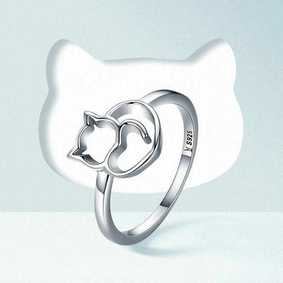 Silver Little Cat & Heart Ring-ring-Golonzo