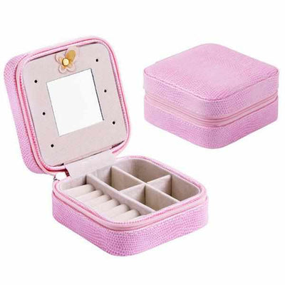 Women's Earring and Jewelry Case With Makeup Mirror-Jewelry Holders-Golonzo