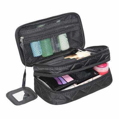 Double Layer Cosmetic Bag With a Mirror-Packing Organizers-Golonzo