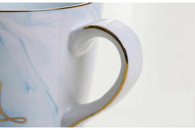 Handpainted Gold Monogram Natural Marble Porcelain Coffee Mug-Coffee and Tea Cups-Golonzo