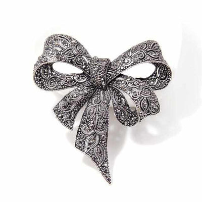 Black Color Rhinestone Bow Brooches-Brooches & Lapel Pins-Golonzo