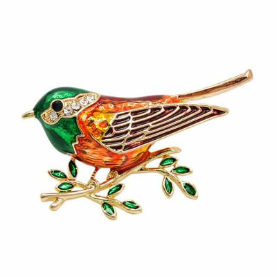 Enamel Bird Pins-Brooches & Lapel Pins-Golonzo