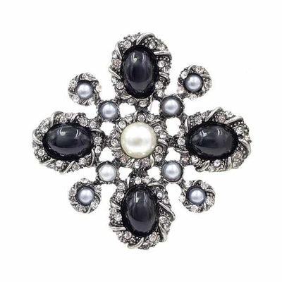 Pearl Cross Baroque Brooches-Brooches & Lapel Pins-Golonzo