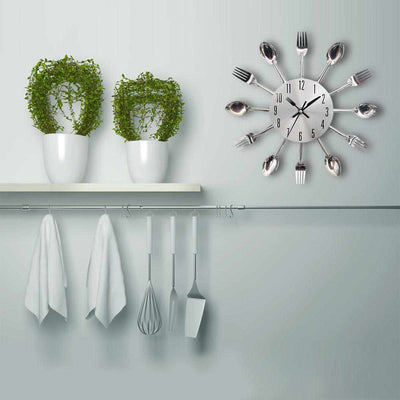 Cutlery Metal Kitchen Wall Clock-Wall Clocks-Golonzo