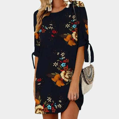 Female Floral Printed Mini Dress-Dresses-Golonzo