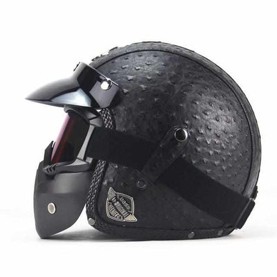 PU Leather 3/4 Vintage Motorcycle Helmet - Include/Exclude Goggle Mask-Motorcycle Helmets-Golonzo