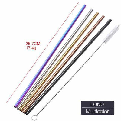 4PCS Reusable Metal Drinking Straws - Colorful Stainless Steel Straw+1 Brush-Drinking Straws and Stirrers-Golonzo