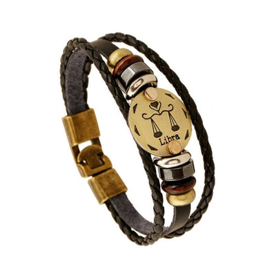 BLACK GALLSTONE ZODIAC SIGNS LEATHER BRACELET-Bracelet-Golonzo