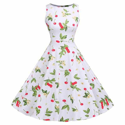 Floral Print Sleeveless Vintage Summer Dress-Dresses-Golonzo