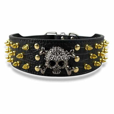 Gold Skull Spiked Dog Collars For Medium-Large Dog-collar and harness-Golonzo