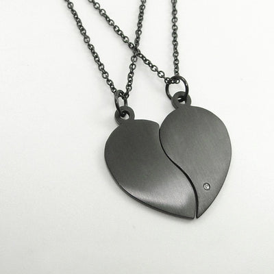 Stainless Steel Two Halves Heart Necklace Simple Black Choker Heart Pendant Fashion Chain Couple-Pendant Necklaces-Golonzo
