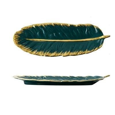 Luxury Ceramic Platter Storage Tray with Glod Rim Green Leaf Glod Feather Jewelry-Kitchen Slicers-Golonzo