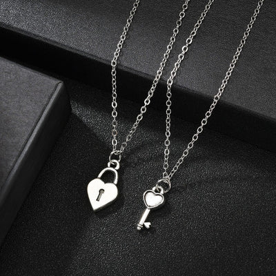 Romantic Couple Heart Clock Key Pendant Necklaces For Women Ture Love Two Detachable Necklace-Pendant Necklaces-Golonzo