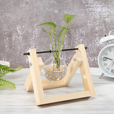 Glass and Wood Vase Planter Terrarium Table Desktop Hydroponics Plant Bonsai Flower Pot Hanging Pots-Flower Pots-Golonzo