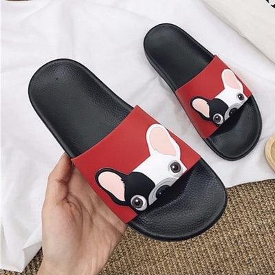 Cute Dog Cartoon Women Fashion Pu Leather Flat Heels Slippers-Women Shoes-Golonzo