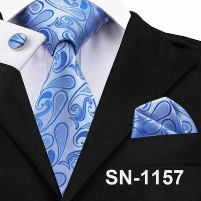 Paisley Tie Set 100% Silk Jacquard Mens Necktie for Mens Business Wedding Party-Neckties-Golonzo