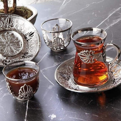 Handmade Authentic Gold Silver Arabic Turkish Tea Cups-Coffee and Tea Cups-Golonzo