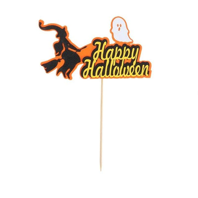 Happy Halloween Cake Topper Pumpkin Ghost Bat Witch Ghost Castle Black Cat Horror-Party Decorations-Golonzo