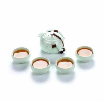 Chinese Ceramic Teapot and Tea Cup Set-Coffee and Tea Cups-Golonzo