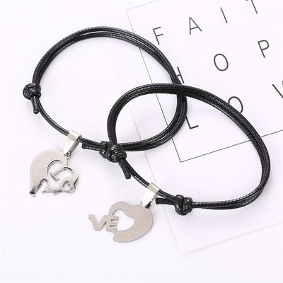 Couple Bracelet for Lovers Two Pieces Heart Stainless Steel-Bracelets-Golonzo