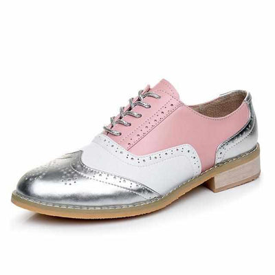 Women Winter Genuine Leather Casual Handmade Oxford Shoes-Women Shoes-Golonzo
