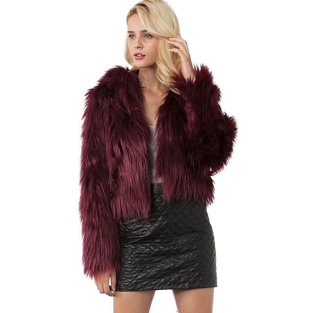 Winter Hooded Fur Coat - Women Warm Long Sleeve Outerwear Solid Faux Fur  Jacket d4a61d15a