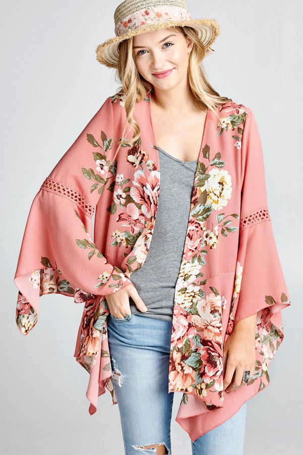 Floral Print Woven Open-Front Cardigan