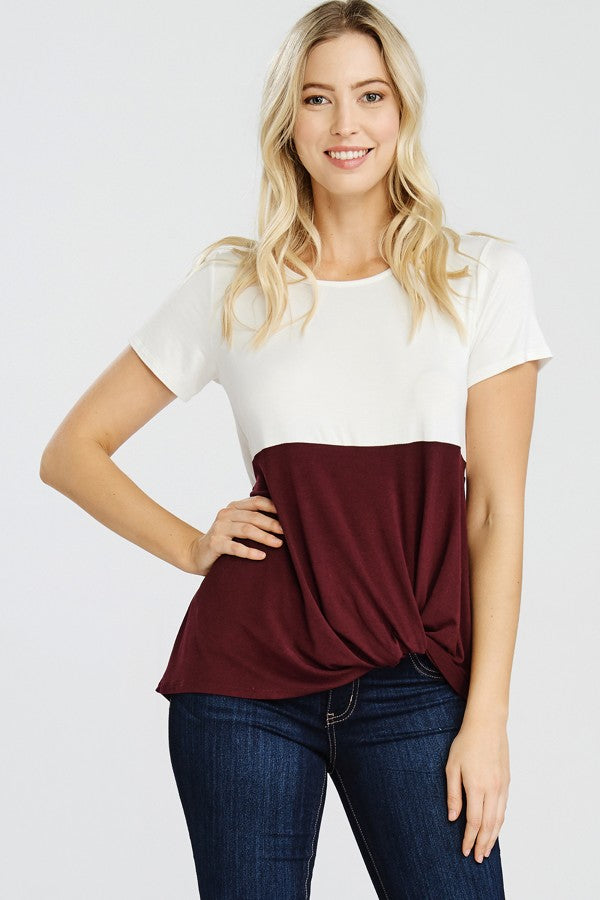 Short Sleeve, Colorblock Knit Top