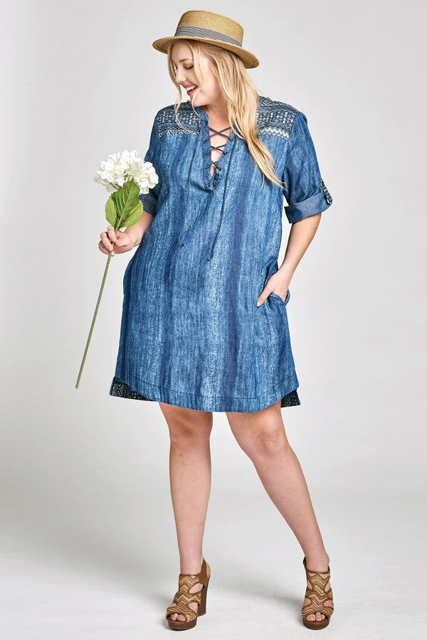 Washed Denim Shift Dress