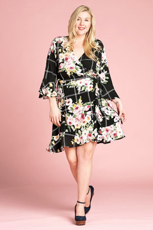 Floral Print Woven Wrap Dress