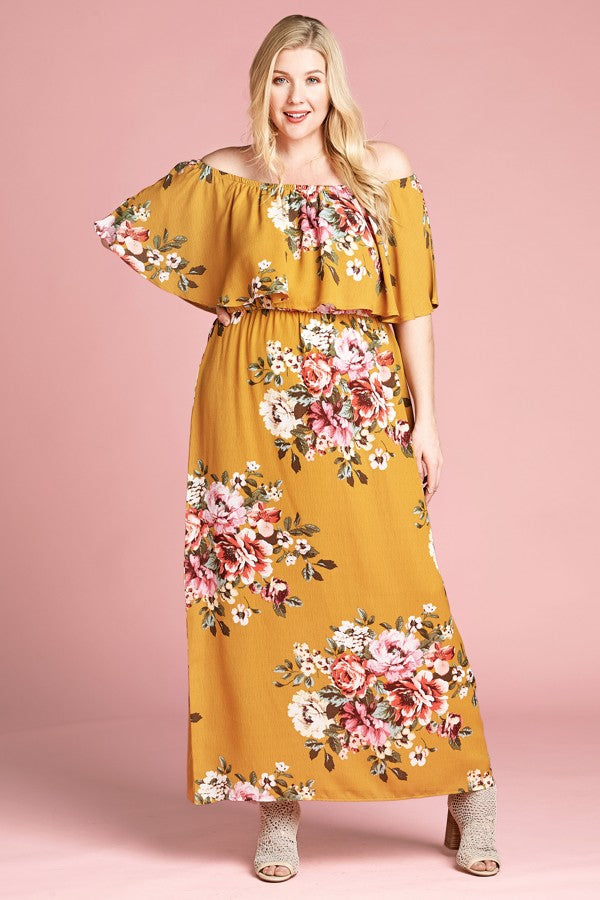 Floral Print Knit Trendy Maxi Dress
