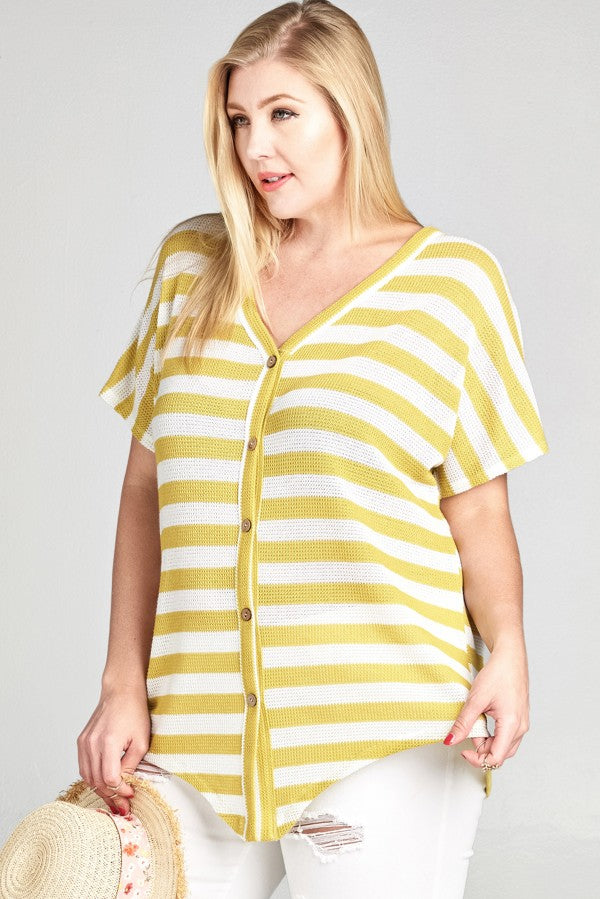 Striped Mini Waffle Knit Loose-Fit Top