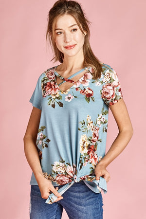 Allover Floral Print Jersey Knit Top