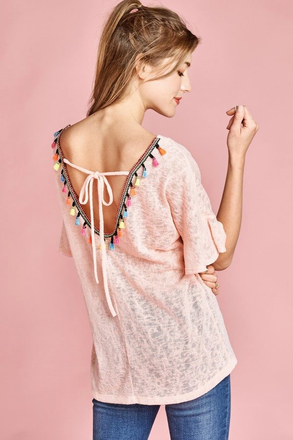 Loose Fitting Tassle Trimmed Back Top