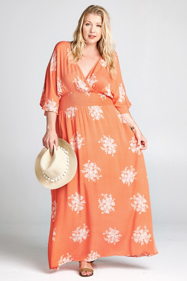Allover Floral Wrap Maxi Dress