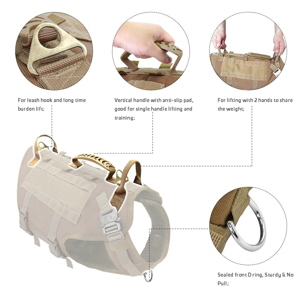 Tactical Dog Harness Military No Pull Pet Harness Vest For