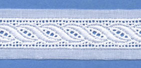 "Swiss Lace Insertion 1 1/8"" #65028 White"