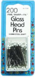 Glass Head Pins, Very Fine, 200 Pins
