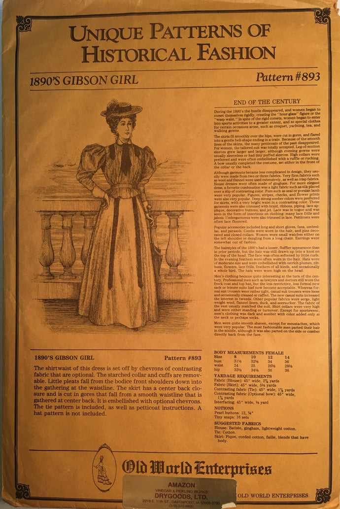 Unique Patterns of Historical Fashion - 1890's Gibson Girl #893
