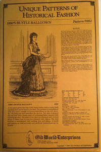 Unique Patterns of Historical Fashion - 1880's Bustle Ballgown #882