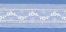 "Swiss Lace Insertion 1 1/8"" #15058 White"