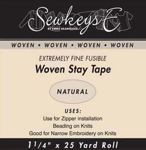 "Fusible Woven Stay Tape - 1 1/4"" Wide Natural"