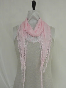 Casual Lace Style Scarf - Pink