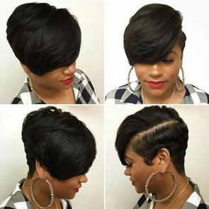 Short Cropped Straight Layered Hair for Black Women