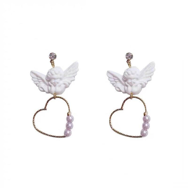 White Tanuki Angel x Hearts Earrings