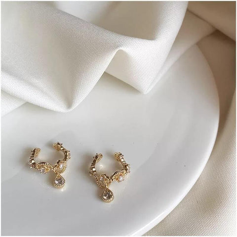White Tanuki Angelic Tears Ear Cuffs