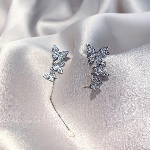 White Tanuki Asymmetrical Butterfly Earrings